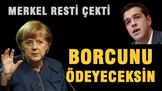 Merkel Yunanistan'a resti çekti