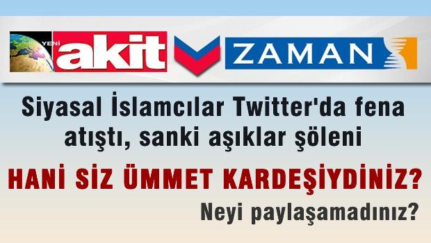 Zaman ve Akit yazarları Twitter'da atıştı. Sosyal medya sallandı