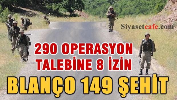 TSK'nın 290 operasyon talebinden 8'ine izin verildiği 3 ilde 49 şehit