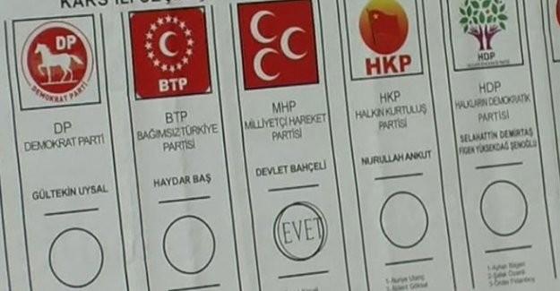 'Evet' mühürlü oy pusulası ile MHP'ye istifa çağrısı