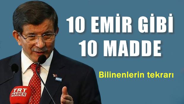 Davutoğlu 10 maddelik planı açıkladı