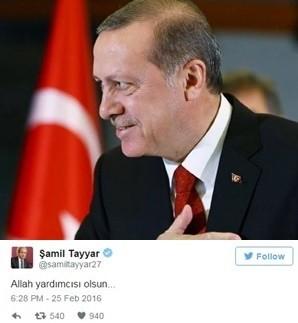 Şamil Tayyar'dan AYM'nin Hak İhlali Kararı Sonrası İlginç Erdoğan Tweeti