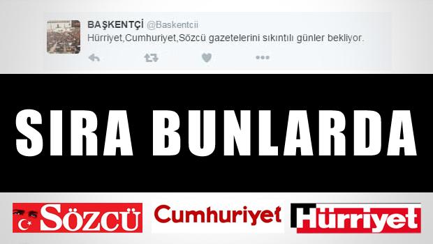 AKP'li Twitter Hesabından, Zaman'ın Ardından, Hürriyet Cumhuriyet Sözcü İması