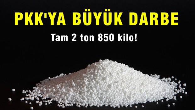 PKK'nın 2 ton 850 kilo amonyum nitratı ele geçirildi