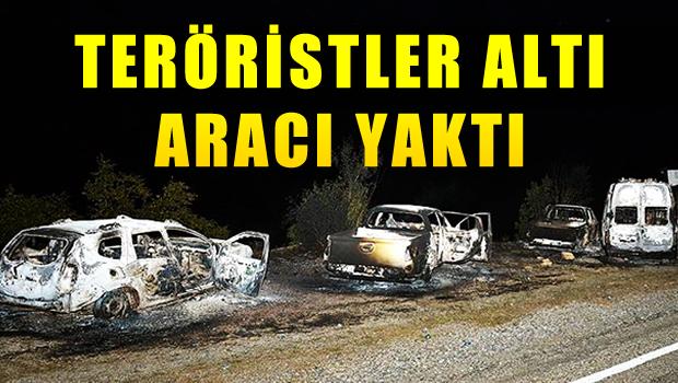 Tunceli'de teröristler 6 aracı yaktı