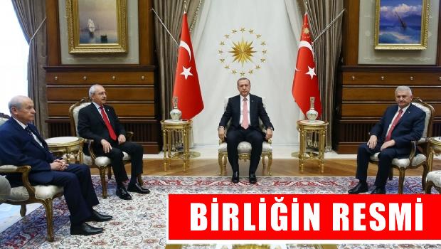 Yıldırım, Kılıçdaroğlu ve Bahçeli Cumhurbaşkanlığı Sarayı'nda