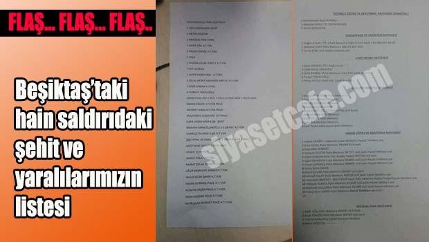 Beşiktaş'taki hain saldırıdaki şehit ve yaralılarımızın listesi