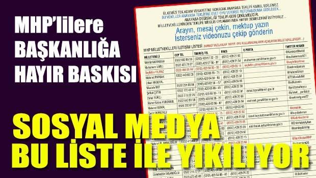 MHP'li milletvekillerine 'Başkanlığa hayır' baskısı