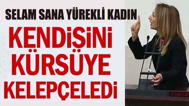 Aylin Nazlıaka kendisini Meclis kürsüsüne kelepçeledi
