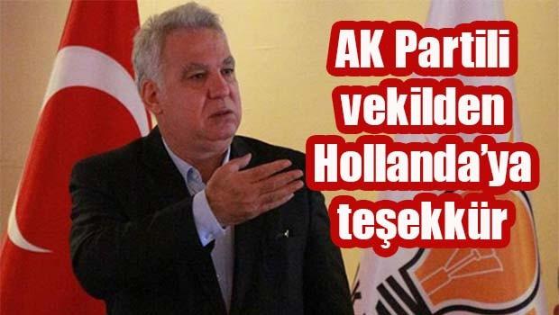 AK Partili vekilden Hollanda'ya teşekkür!