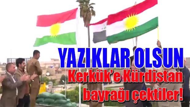 Kerkük'e Kürdistan bayrağı çektiler!