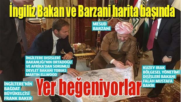 İngiliz Bakan ve Barzani harita başında!